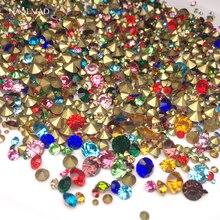 1bag 20gram Colorful Crystal Rhinestones AB Nail Sharp Bottom  1mm-6mm Multi-size Glass Strass Stones