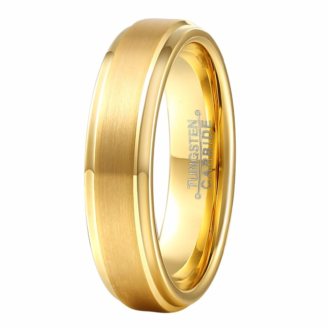 6MM Fashion Womens Gold Color Tungsten Carbide Marriage Ring Boy