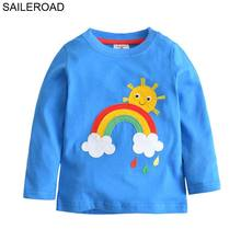 SAILEROAD 18M-6Years Baby Boys Girls Long Sleeve T Shirts For Spring Autumn Children Kids Clothes Sun And Rainbow Pattern Shirts