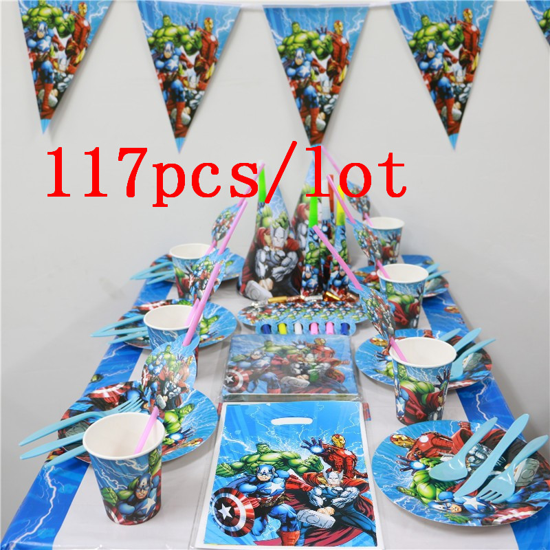 Party Supplies Avengers 117pcs/lot Disposable Tableware Wedding Funny Trumpet Happy Birthday Party Avengers Gift Bag Cups SupplyParty Supplies Avengers 117pcs/lot Disposable Tableware Wedding Funny Trumpet Happy Birthday Party Avengers Gift Bag Cups Supply