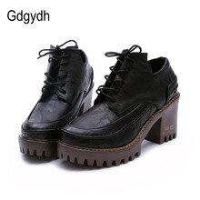 Gdgydh/2017 Весна Британский Стиль Женская обувь круглый носок на платформе повседневная женская обувь из двух частей шнуровкой обувь больших размеров