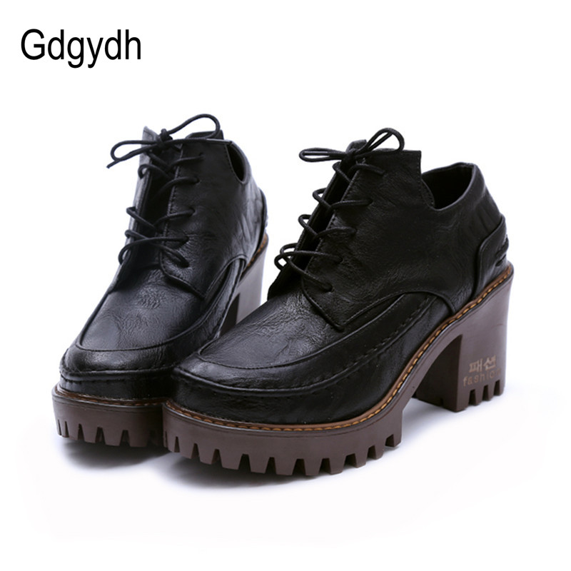 Gdgydh 2018 Spring British Style Female Single Shoes Round Toe Platform Casual Women Shoes Square Heels Lacing Large Size Shoes gdgydh 2017 spring british style women single shoes round toe lacing platform female pumps soft leather pu casual ladies shoes