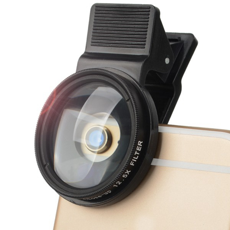 37mm 12.5x Close Up Phone Filter Lens with Clip Universal for iPhone for Samsung Xiaomi Android IOS Mobile Phones Camera Lens