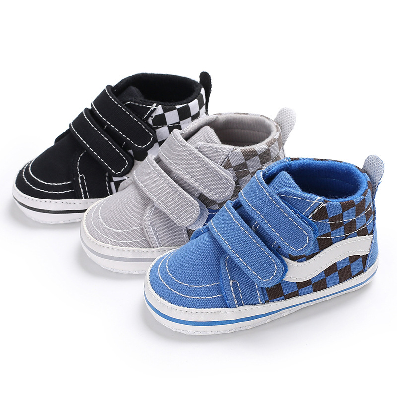 Newborn Baby Boys Shoes Cotton Ankle Canvas High Crib Shoes Casual Sneaker Toddler First Walkers Boot Soft Sole For 0-18M
