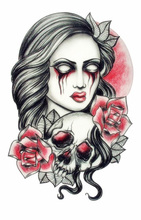 Body Art Beauty Makeup Pink Sexy Dangerous Sexy Skull And Scary Lady Tattoo Waterproof Temporary Tattoo Stickers