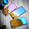 Floveme casos para iphone 7 7 plus case para apple iphone 6 6 S 6 Plus Gradien luz Azul Transparente Rígido Limpar Cover Ultra Fino
