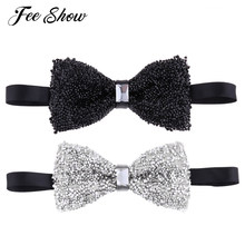 2 Pieces New Fashion Gentleman Rhinestone Adjustable Sparkle Bow Ties Mens  Party Banquet Pre-tied Bowties for Suits and Tuxedos 2a3b32befb14