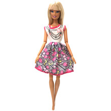 NK One Set Doll Clothes Casual Daily Dress Fashion Skirt Party Gown For Barbie Doll Accessories For Girl's Best Gift 077A(China)