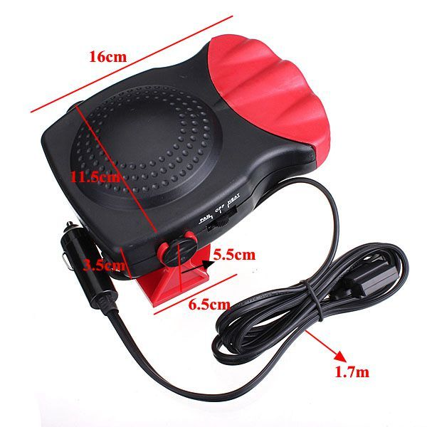 Black & Red 12V 150W 2 in 1 Car Vehicle Heater Heating Cool Fan Windscreen Demister DEFROSTER