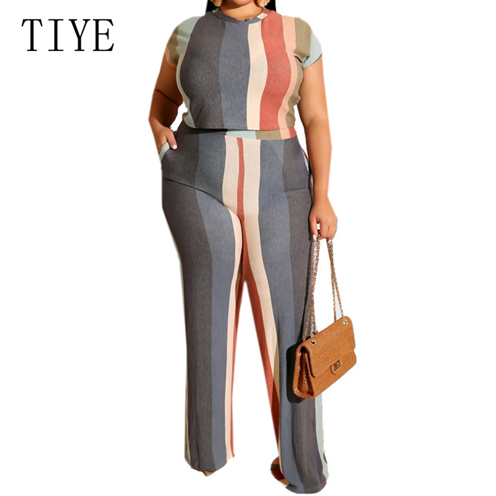 TIYE Large Size 4XL 5XL Striped Print Two Pieces Sets Jumpsuits Summer Short Sleeve Casual Playsuits Women Streetwear Overalls