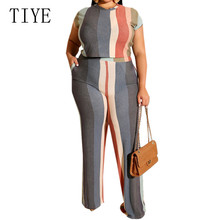 TIYE Large Size 4XL 5XL Striped Print Two Pieces Sets Jumpsuits Summer Short Sleeve Casual Playsuits Women Streetwear Overalls fuda two pieces sets large size 3xl playsuits women bodycon rompers bodysuits short sleeve printed casual summer overalls