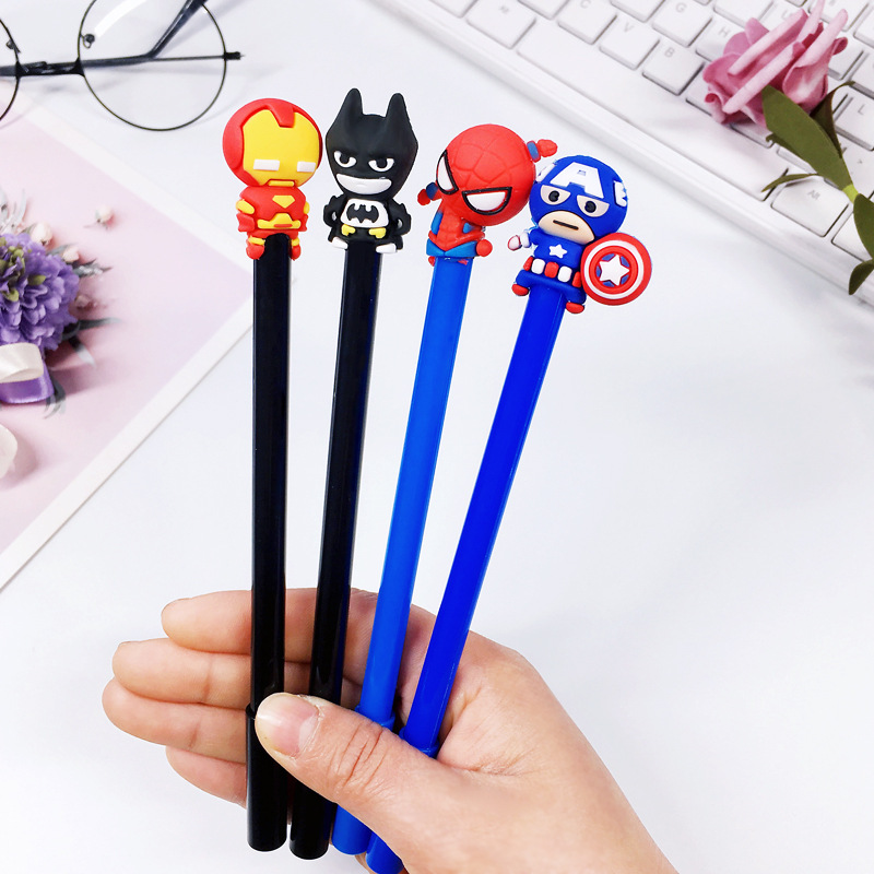 4 Pcs/lot Cuet Marvel Character American Captain Batman Gel Pen Signature Pen Escolar Papelaria School Office Supply
