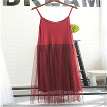 Daddy Chen Cotton Spaghetti Strap Dress Sexy Lace Mesh Patchwork Designer Sleeveless Comfortable Mid-Calf Pleated Sukienki