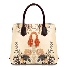 купить Famous Brand Women Handbags PU Leather Luxury Designer Ladies Shoulder Messenger Bags Cartoon Flowers Large capacity Tote Bags по цене 5256.74 рублей