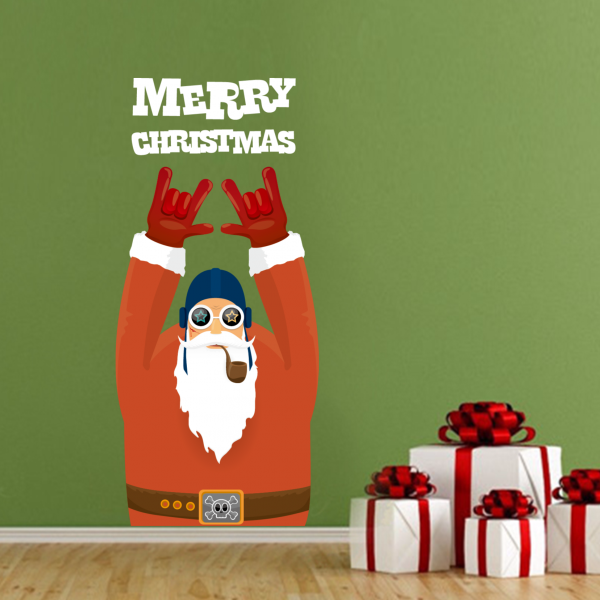 Merry Christmas Cool Beard Santa Claus Illustration Wall Sticker ...