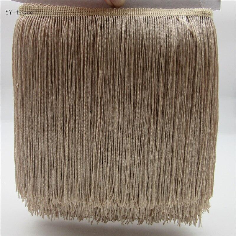 1 Yards 20CM Long Lace Fringe Trim Polyester Tassel Skin Color Fringe Trimming Diy Latin Dress Clothes Accessories Lace Ribbon