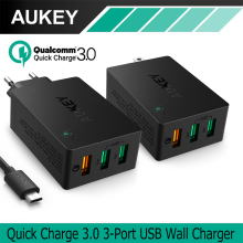 AUKEY USB Charger Quick Charge 3.0 3-Ports Portable USB Wall Charger for LG G5 Samsung Galaxy S8/S7/S6/Edge iPhone 8 7 Plus iPad