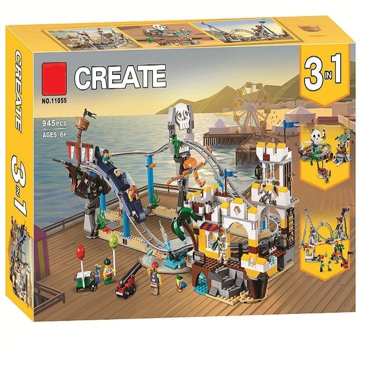 2019 nueva 11055 945 piezas 3in1 pirata Montaña Rusa Bela construcción bloques Compatible legoinglys 31084 ladrillos de juguete-in Bloques from Juguetes y pasatiempos    1