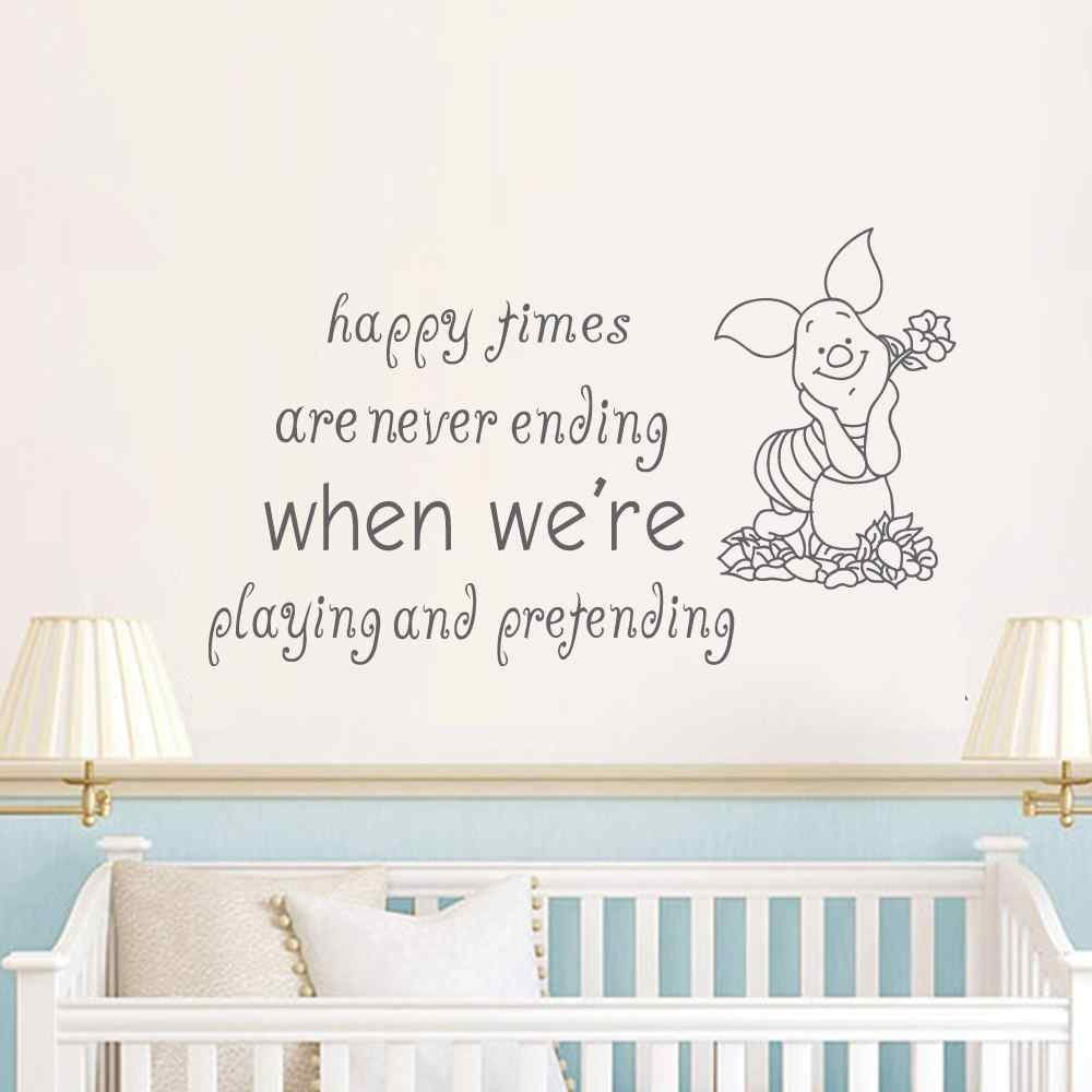 Personalised Nursery Wall Sticker Winnie The Pooh Bedroom Decor Decal Mummy Daddy Love Quote