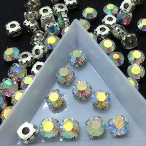 1440 stücke SS20 Kristall AB Silber FlatBack Nähen Auf Steinen Mit Krallen Silber Überzogene Einstellung Chatons Kristall Glas Steine