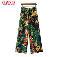 Tangada kobiety kwiatowy Print zielone spodnie High talia Sashes ZIPPERS moda damska lato szerokie nogi spodnie 2017 przytulne spodnie XD62 tanie tanio Spodnie do kostki Tangada (w) Fałszywe zamki błyskawiczne kieszenie skrzydła Sukno Płaskie Szerokie spodnie na nogawkach