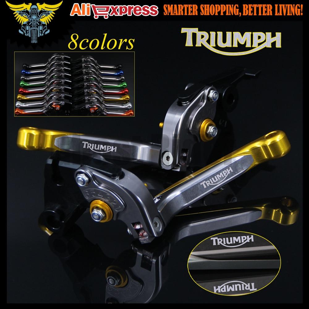 Gold+Titanium 8 Colors CNC Adjustable Folding Extendable Motorcycle Brake Clutch Levers For Triumph DAYTONA 955i 2004 2005 2006 blue titanium cnc motorcycle adjustable folding