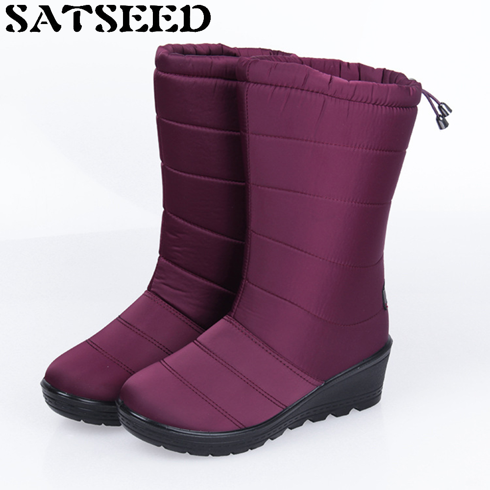 New Winter Snow Boots Women Wedge Heel Shoes Lady Warm Non Slip Waterproof Boots Mid-calf Slip-on Short Plush Round Toe Faux Fur nayiduyun women genuine leather wedge high heel pumps platform creepers round toe slip on casual shoes boots wedge sneakers
