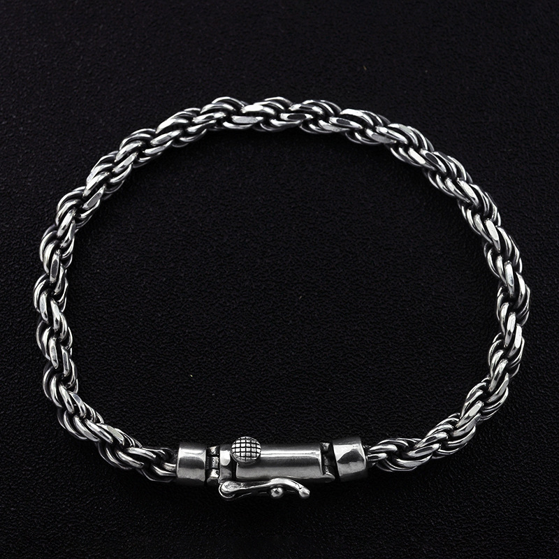 Real 925 Sterling Silver Bracelets Weave Braided Wire With Toggle Clasp Double Safe 17 21cm Retro Punk Bracelets For Men Jewelry