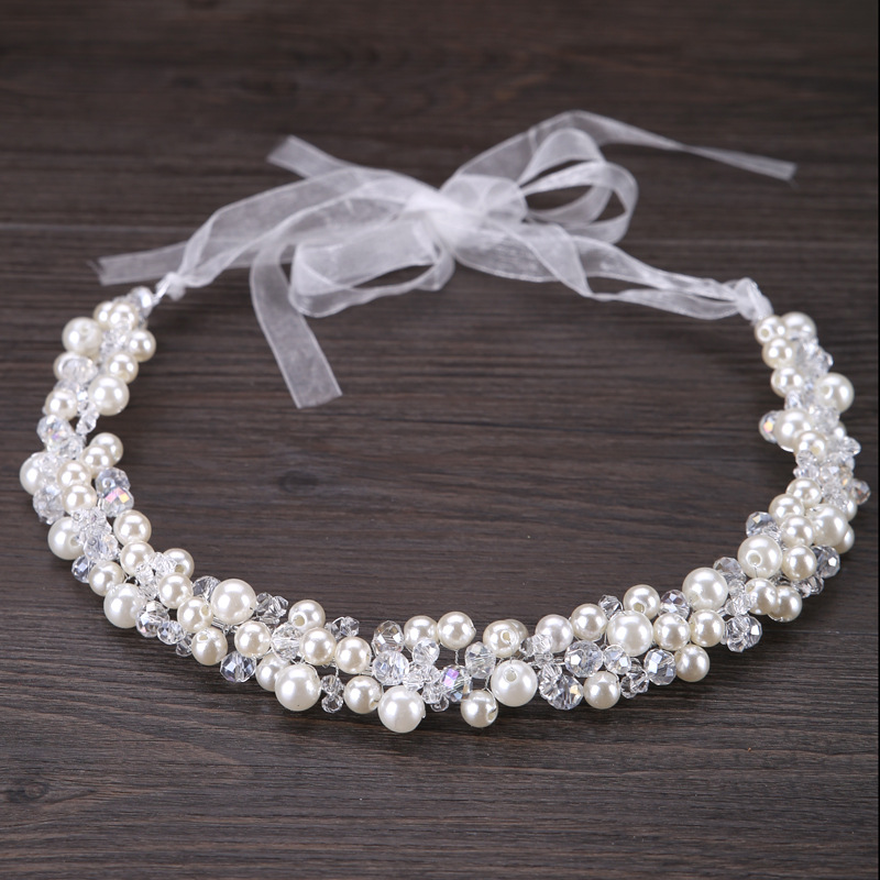 2017 Bride Hair Decoration Women Pearl Beads Headbands Hair jewelry Indian Beaded Head Piece Wedding Head Chain Hair Jewelry pure handmade bride wedding hair accessory head piece 2 piece set hanfu costume xiu he fu wedding use hair jewelry page 5