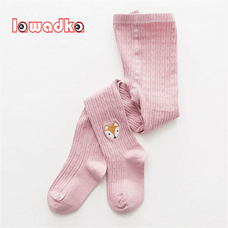 Lawadka Cartoon Girls Tights Cotton Kids Tights For Girls Baby Fox Elastic Waist Knitted Stitching Pantyhose Stocking cute baby kids girls cotton fox tights носки штаны штаны чулочно носочные изделия колготки