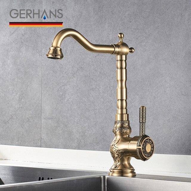 Beau GERHANS Adoking All  Brass Kitchen Faucet Luxury Traditional Water Mixer  Antique Water Tap Bronze Bar