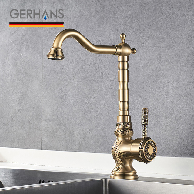 Gerhans Adoking All Br Kitchen Faucet Luxury Vintage Retro Water Mixer Antique Tap Bronze