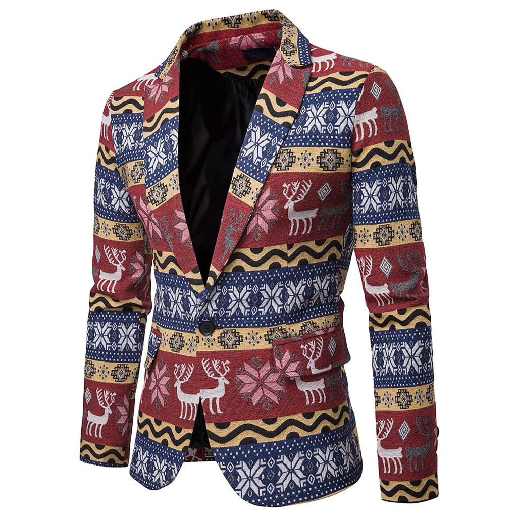 Winter Mens Jackets And Coats Slim Fit Notched Printed Stylish Christmas Suits Jacket Casual Lapel Men Blazer Floral Clothes