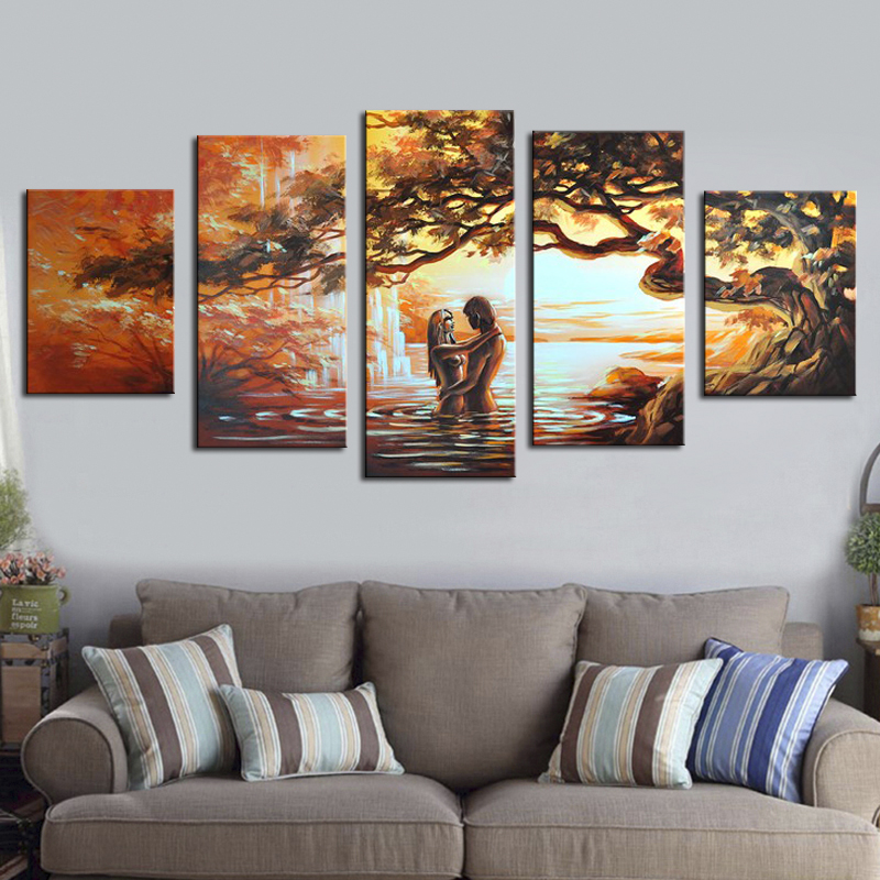 Hand Painted Wall Art Lovers Home Decoration Abstract Landscape Oil Painting On Canvas 5 Pieces No