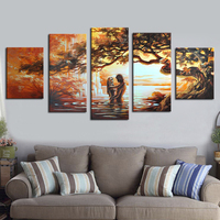 Hand Painted Wall Art Lovers Home Decoration Abstract Landscape Oil Painting On Canvas 5 Pieces No Frame Dining Room Decoration