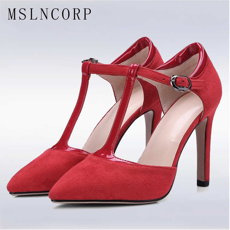 цена на Plus Size 34-43 New Fashion Women Sandals Summer sexy Pumps Thin High Heel Pointed toe Ankle T Strap Ladies Wedding Party Shoes
