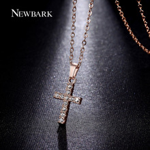 NEWBARK Cross Necklaces & Pendants Rose Gold Plated Zinc Alloy With Austria Crystal Pave Setting Chain Necklace Bijoux