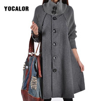 YOCALOR Long Female Jacket Overcoat Cloak Windbreaker Loose Winter Wool Coat Women Autumn Manteau Femme Hiver Cape Warm Tweed