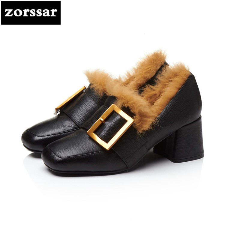 {Zorssar} 2018 Spring New fashion buckle Genuine Leather womens High heels Fur shoes pumps thick heel ladies dress shoes zorssar 2018 new fashion crystal genuine leather thick heel womens shoes heels square toe high heels pumps ladies dress shoes