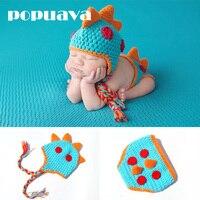 POPUAVA Baby Newborn Photography Props Hand Crochet Knit Props Beanie Children S Dinosaur Model Hats