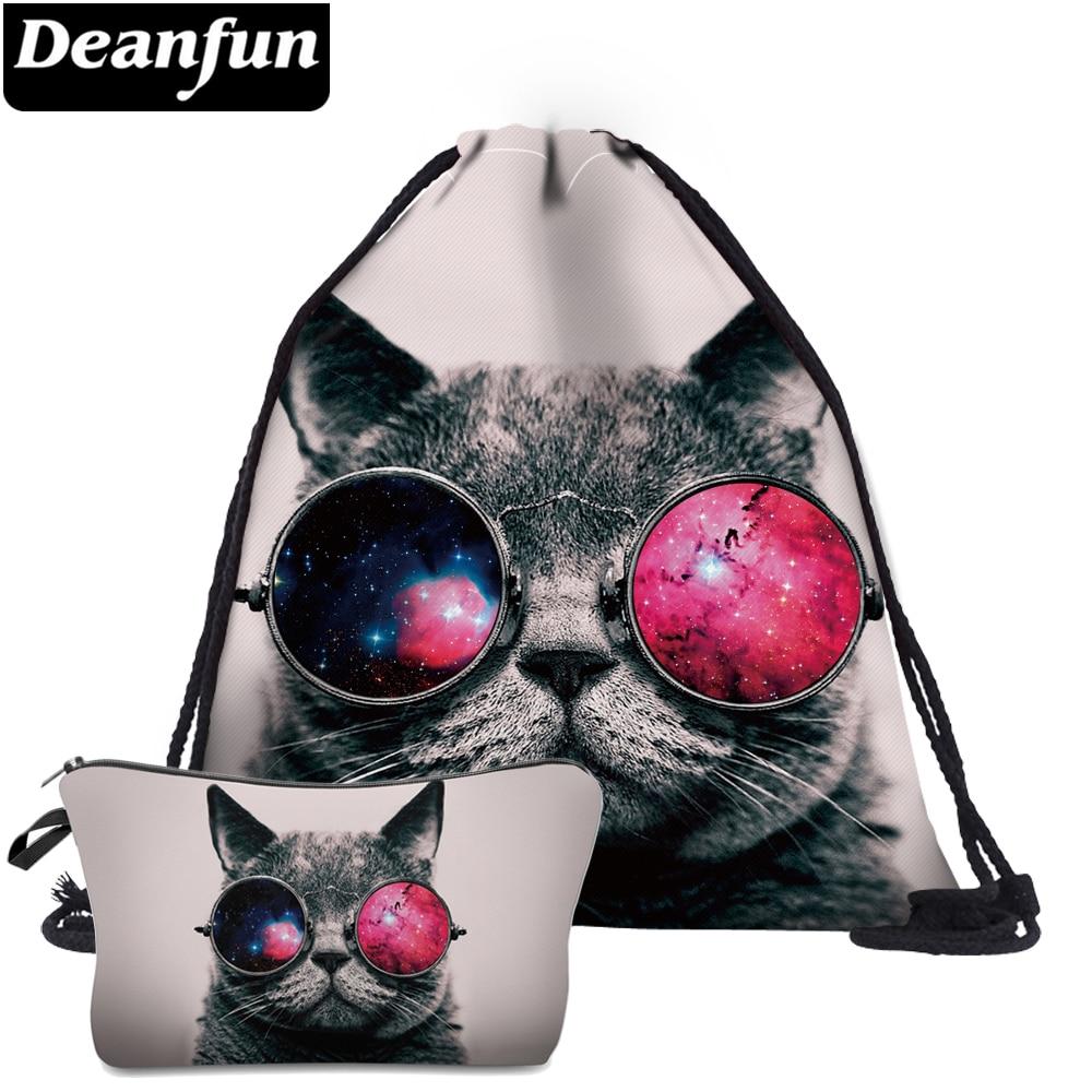 Deanfun 2 Pc Katze Kordelzug Taschen Tier Gedruckt Frauen Schulranzen Mode Für Reise