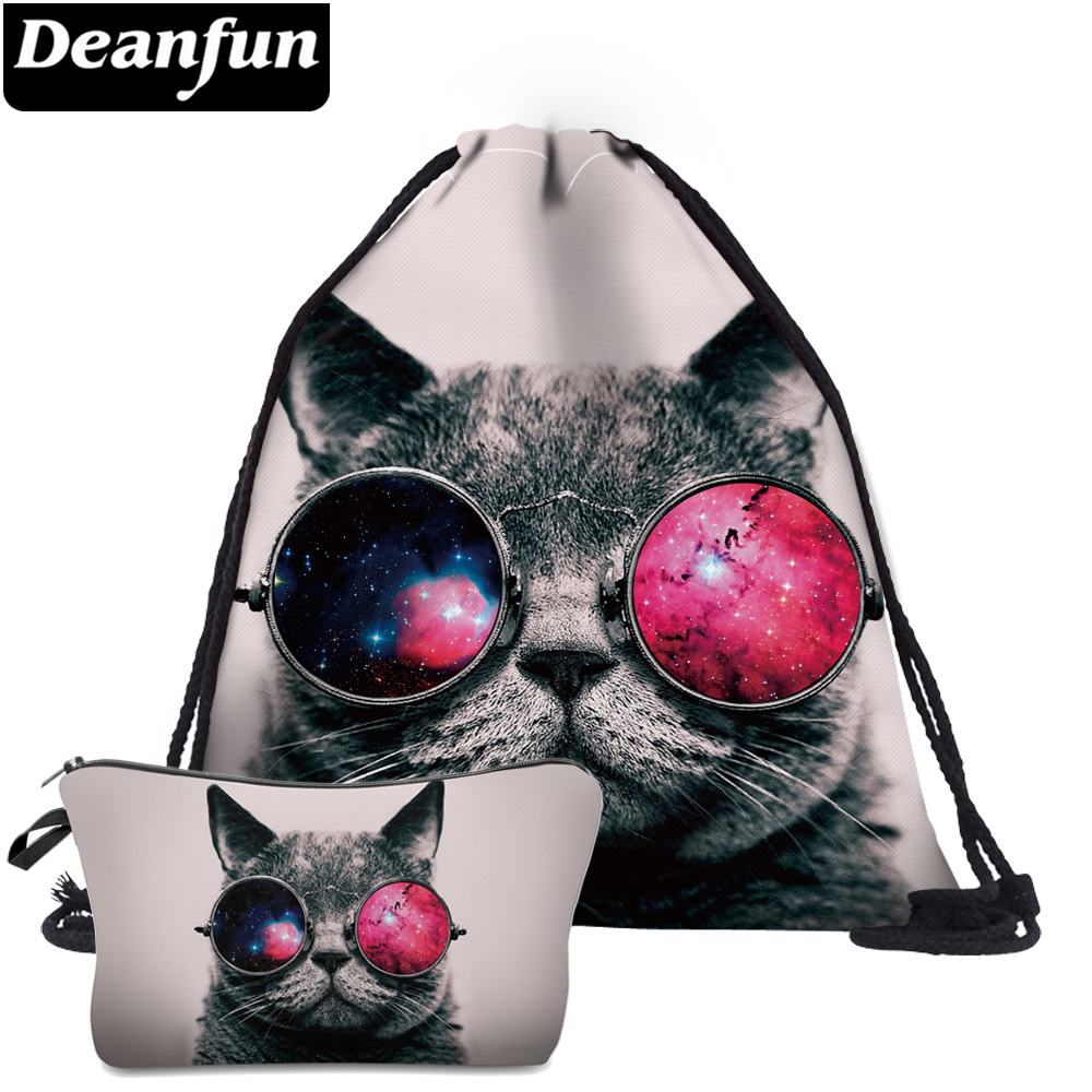 Deanfun 2Pc Cat Drawstring Bags Animal Printed Women Schoolbags Fashion For Travel