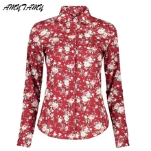 Women Blouses White Red Floral Long Sleeve Casual Cotton Blouse Shirt Women Tops Size Blusas Feminina Office Shirts Woman(China)