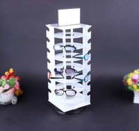 Wholesale Rotating White Plastic Sunglass Display Stand Holder Glasses Rack For 28 Pairs