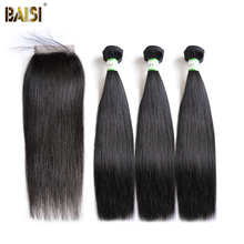BAISI Straight Brazilian Virgin Hair Bundle Human Hair Extensions 3 Bundles with a Closure Nature Color Free Shipping.