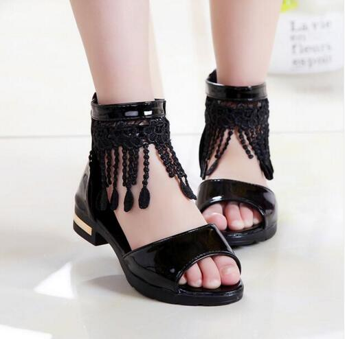 New style Summer sandals Female Children Sandals Baby Girls Lace Tassel Fashion Princess Shoes PU Leather hard sole 17-23.3CM