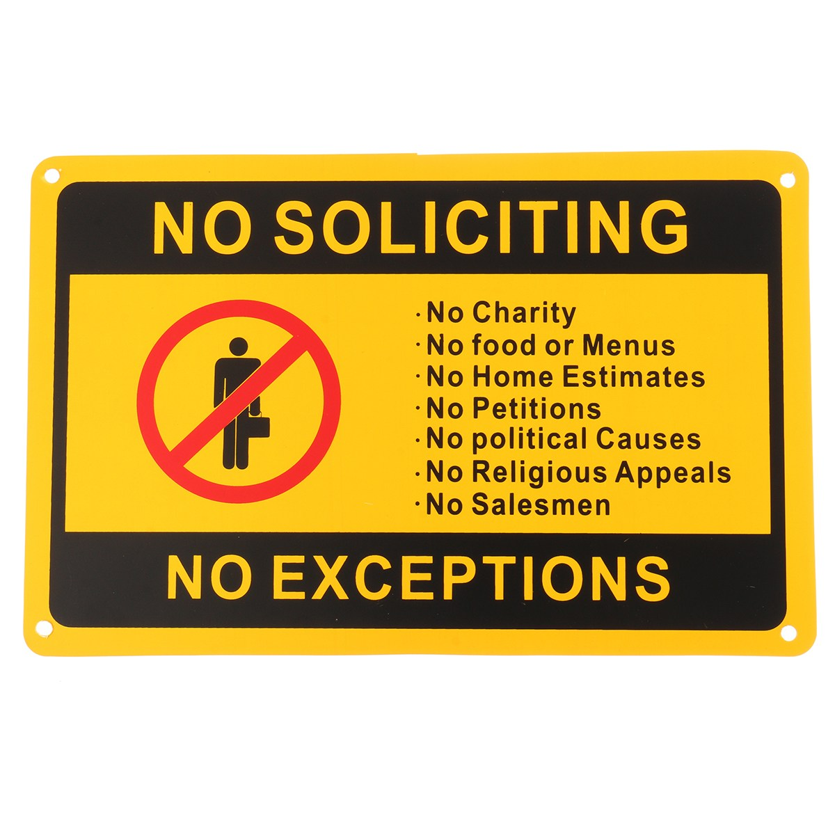 NEW Safurance NO SOLICITING NO EXCEPTIONS Front Door Security Sign Waterproof 11x7/28x18cm Workplace Safety