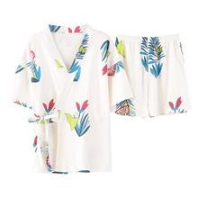 summer 2019 pyjamas women cotton printed cardigan kimono short-sleeved shorts 2pcs Kawaii straps short sleeve shirt pijama mujer