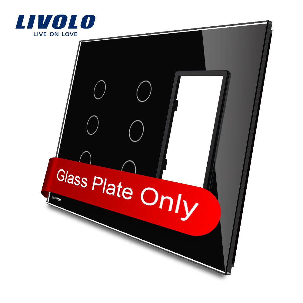 Livolo US Standard Black Color Glass, 3Gang &3Gang& Frame Glass Panel, VL-C5-C3/C3/SR-12 us 3 12