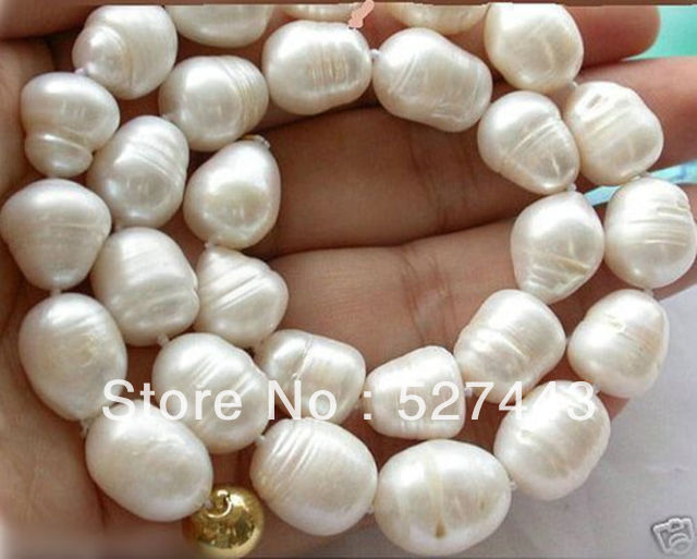 """Natural 12-13MM Genuine white Freshwater cultured Baroque pearl necklace 18/"""" AA"""